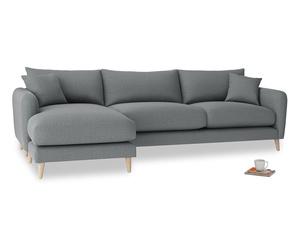 XL Left Hand  Squishmeister Chaise Sofa in Cornish Grey Bamboo Softie