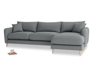 XL Right Hand  Squishmeister Chaise Sofa in Cornish Grey Bamboo Softie