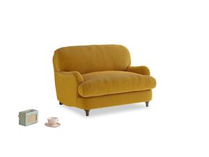 Jonesy Love seat in Saffron Yellow Clever Cord