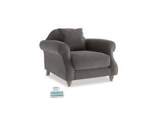Sloucher Armchair in Everyday Grey Clever Cord