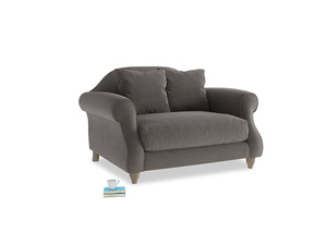 Sloucher Love seat in Everyday Grey Clever Cord