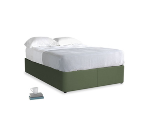 Double Store Storage Bed in Forest Green Clever Linen