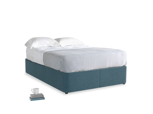Double Store Storage Bed in Lovely Blue Clever Cord
