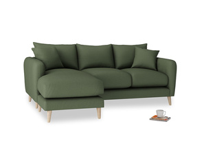 Large left hand Squishmeister Chaise Sofa in Forest Green Clever Linen