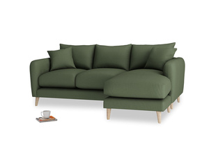 Large right hand Squishmeister Chaise Sofa in Forest Green Clever Linen