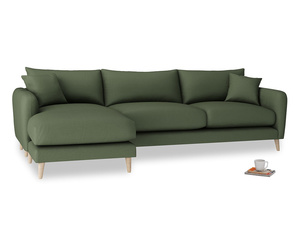 XL Left Hand  Squishmeister Chaise Sofa in Forest Green Clever Linen