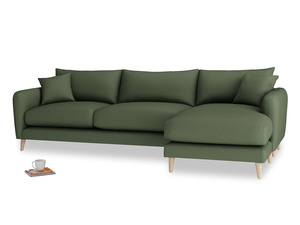XL Right Hand  Squishmeister Chaise Sofa in Forest Green Clever Linen
