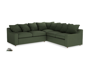 Even Sided Cloud Corner Sofa in Forest Green Clever Linen