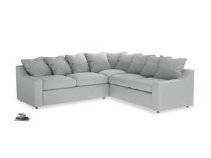 Even Sided Cloud Corner Sofa in Gull Grey Bamboo Softie