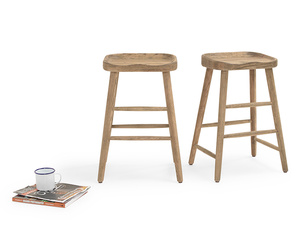 Pair of Bumble In Smoked Oak kitchen stools