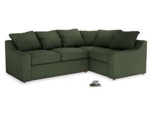 Large Right Hand Cloud Corner Sofa in Forest Green Clever Linen