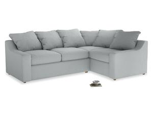 Large Right Hand Cloud Corner Sofa in Gull Grey Bamboo Softie