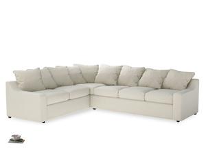 Xl Left Hand Cloud Corner Sofa in Alabaster Bamboo Softie