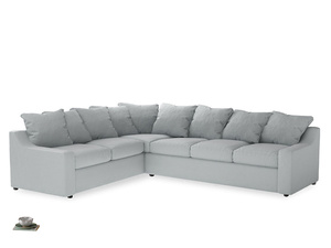Xl Left Hand Cloud Corner Sofa in Gull Grey Bamboo Softie