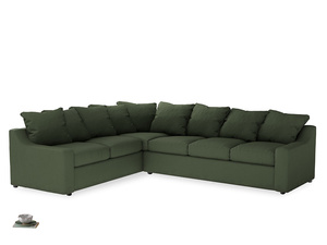 Xl Left Hand Cloud Corner Sofa in Forest Green Clever Linen