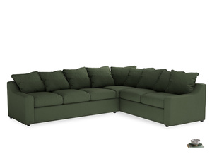 Xl Right Hand Cloud Corner Sofa in Forest Green Clever Linen