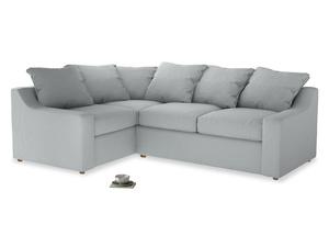 Large Left Hand Cloud Corner Sofa in Gull Grey Bamboo Softie