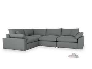 Large left hand Cuddlemuffin Modular Corner Sofa in Cornish Grey Bamboo Softie
