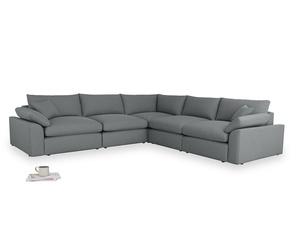 Even Sided Cuddlemuffin Modular Corner Sofa in Cornish Grey Bamboo Softie