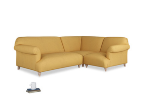 Large right hand Soufflé Modular Corner Sofa in Dorset Yellow Clever Linen with both arms