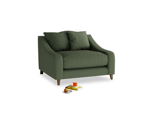 Oscar Love seat in Forest Green Clever Linen