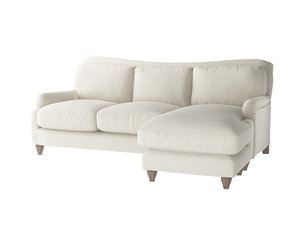 Large right hand Pavlova Chaise Sofa in Oat brushed cotton