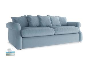 Large Sloucher Sofa Bed in Chalky blue vintage velvet