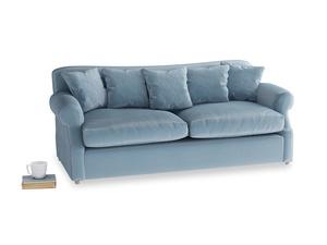 Large Crumpet Sofa Bed in Chalky blue vintage velvet
