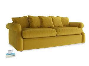 Large Sloucher Sofa Bed in Burnt yellow vintage velvet