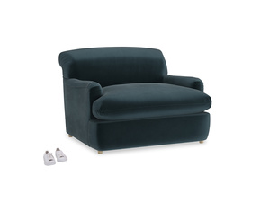 Pudding Love Seat Sofa Bed in Bluey Grey Clever Deep Velvet