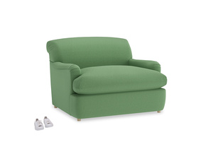 Pudding Love Seat Sofa Bed in Clean green Brushed Cotton