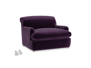 Pudding Love Seat Sofa Bed in Deep Purple Clever Deep Velvet