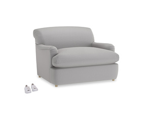 Pudding Love Seat Sofa Bed in Flint brushed cotton