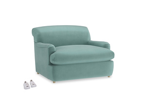 Pudding Love Seat Sofa Bed in Greeny Blue Clever Deep Velvet