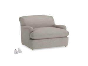 Pudding Love Seat Sofa Bed in Grey Daybreak Clever Laundered Linen