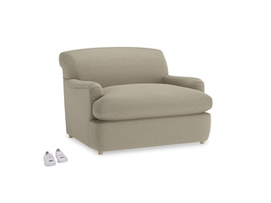 Pudding Love Seat Sofa Bed in Jute vintage linen