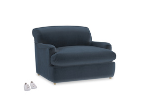 Pudding Love Seat Sofa Bed in Liquorice Blue clever velvet