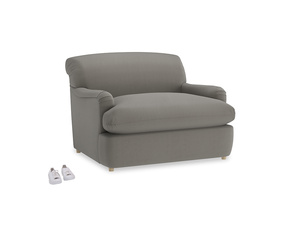 Pudding Love Seat Sofa Bed in Monsoon grey clever cotton