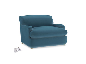 Pudding Love Seat Sofa Bed in Old blue Clever Deep Velvet