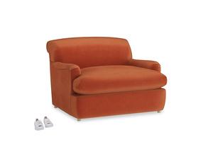 Pudding Love Seat Sofa Bed in Old Orange Clever Deep Velvet