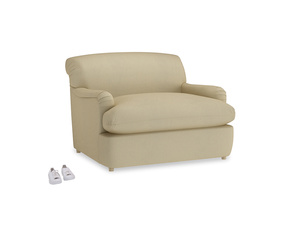 Pudding Love Seat Sofa Bed in Parchment Clever Linen