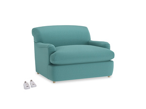 Pudding Love Seat Sofa Bed in Peacock brushed cotton
