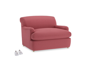 Pudding Love Seat Sofa Bed in Raspberry brushed cotton