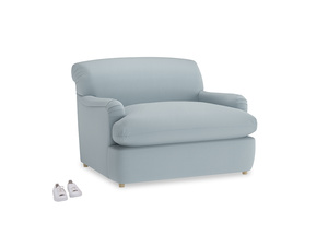 Pudding Love Seat Sofa Bed in Scandi blue clever cotton