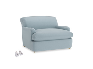 Pudding Love Seat Sofa Bed in Soothing blue washed cotton linen