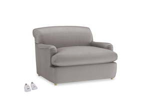 Pudding Love Seat Sofa Bed in Soothing grey vintage velvet