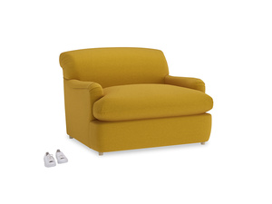 Pudding Love Seat Sofa Bed in Yellow Ochre Vintage Linen