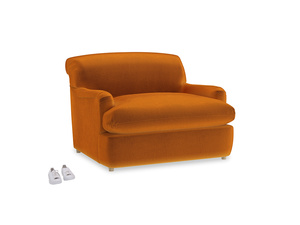 Pudding Love Seat Sofa Bed in Spiced Orange clever velvet
