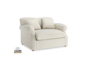 Crumpet Love Seat Sofa Bed in Alabaster Bamboo Softie