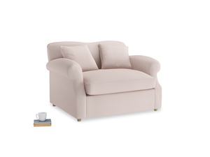 Crumpet Love Seat Sofa Bed in Faded Pink brushed cotton